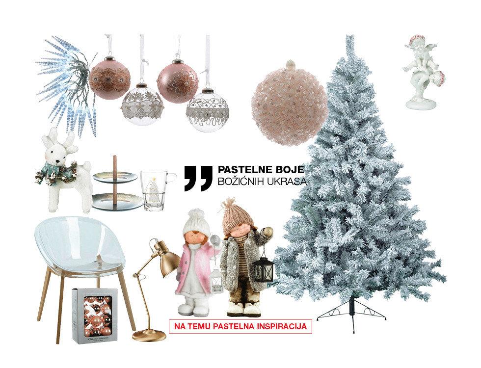 pastelne boje božićnih ukrasa