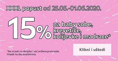 15% na baby sobe, krevetiće, kolijevke i madrace
