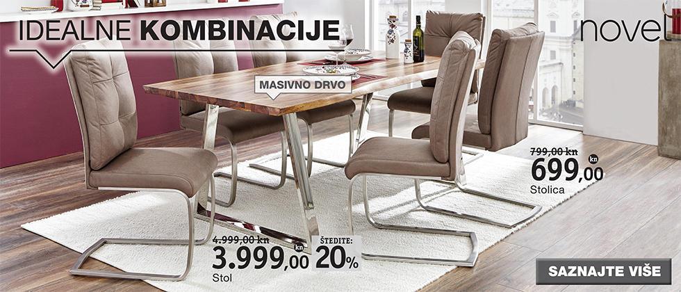 Kvalitetan i moderan stol za blagovaonicu i stolice Lesnina XXXL