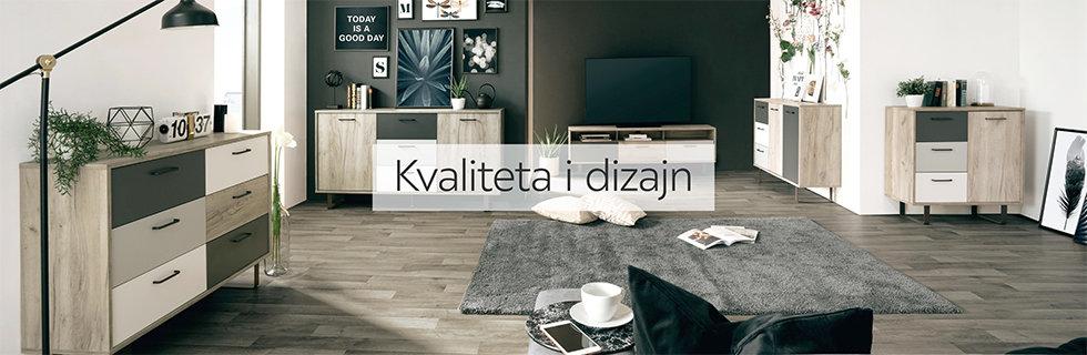 Moderna i kvalitetna komoda u nijansama sive boje Lesnina XXXL