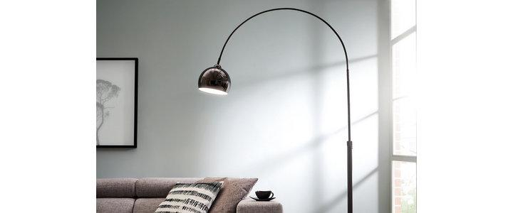 TRIO LED Stehlampe, moderne Design Stand Lampe mit Stoff Lampenschirm große Retro Bogen Leuchte über Esstisch online kaufen | OTTO