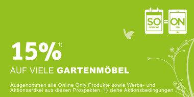 15%  auf viele Gartenmöbel