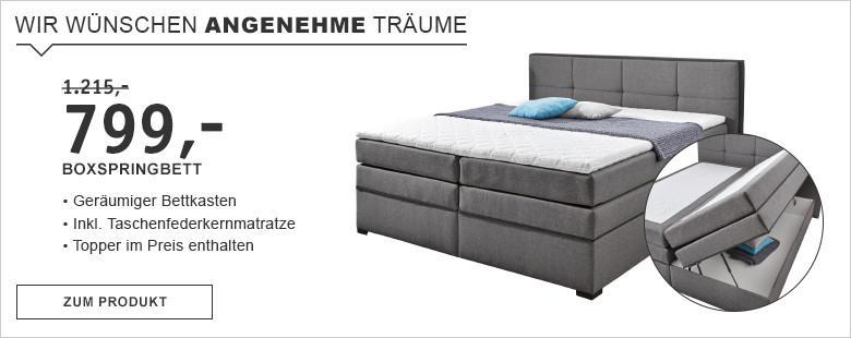 Boxspringbett Grau Bettkasten