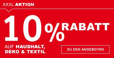 10% Rabatt auf Haushalt, Deko & Textil
