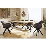 Drveni blagovaonski stol i smeđe prošivene stolice