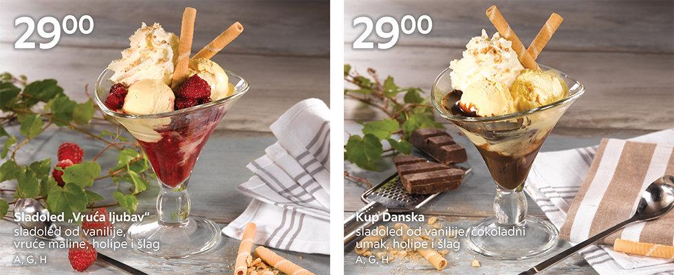 Sladoledni kupovi od vanilije sa malinama ili čokoladnim umakom