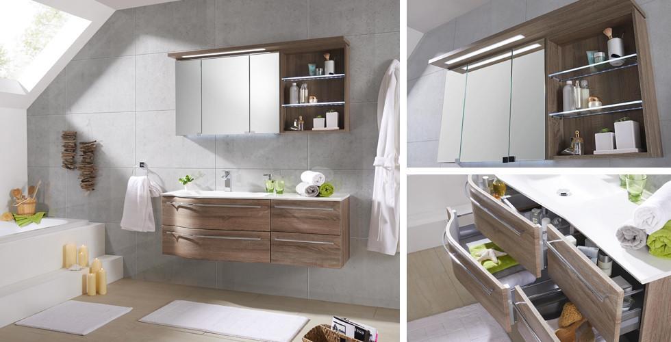 Skříňky pod umyvadlo a nástěnné regály s dostatkem úložného prostoru pro vaše hygienické potřeby a koupelnové doplňky najdete v XXXLutz.