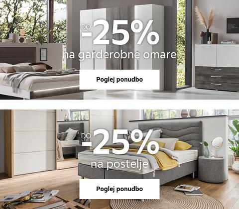 do -25% na garderobne omare in postelje