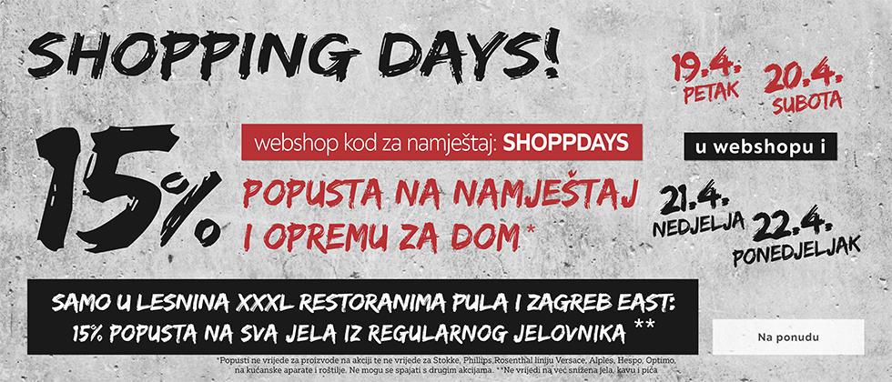 Shopping days Lesnina XXXL popust 15%