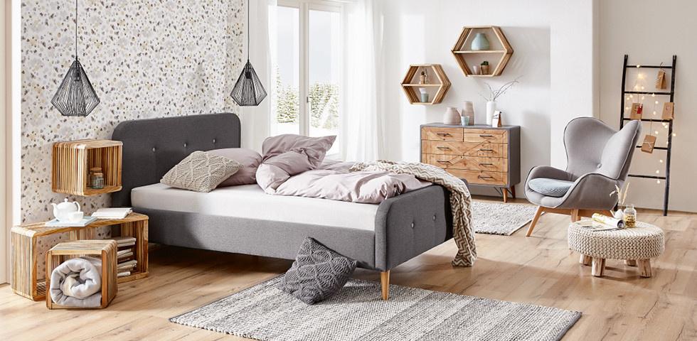 Schlafzimmer im gemütlichen Skandi Look einrichten