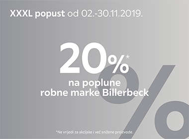 20% popusta na poplune robne marke Billerbeck Lesnina XXXL