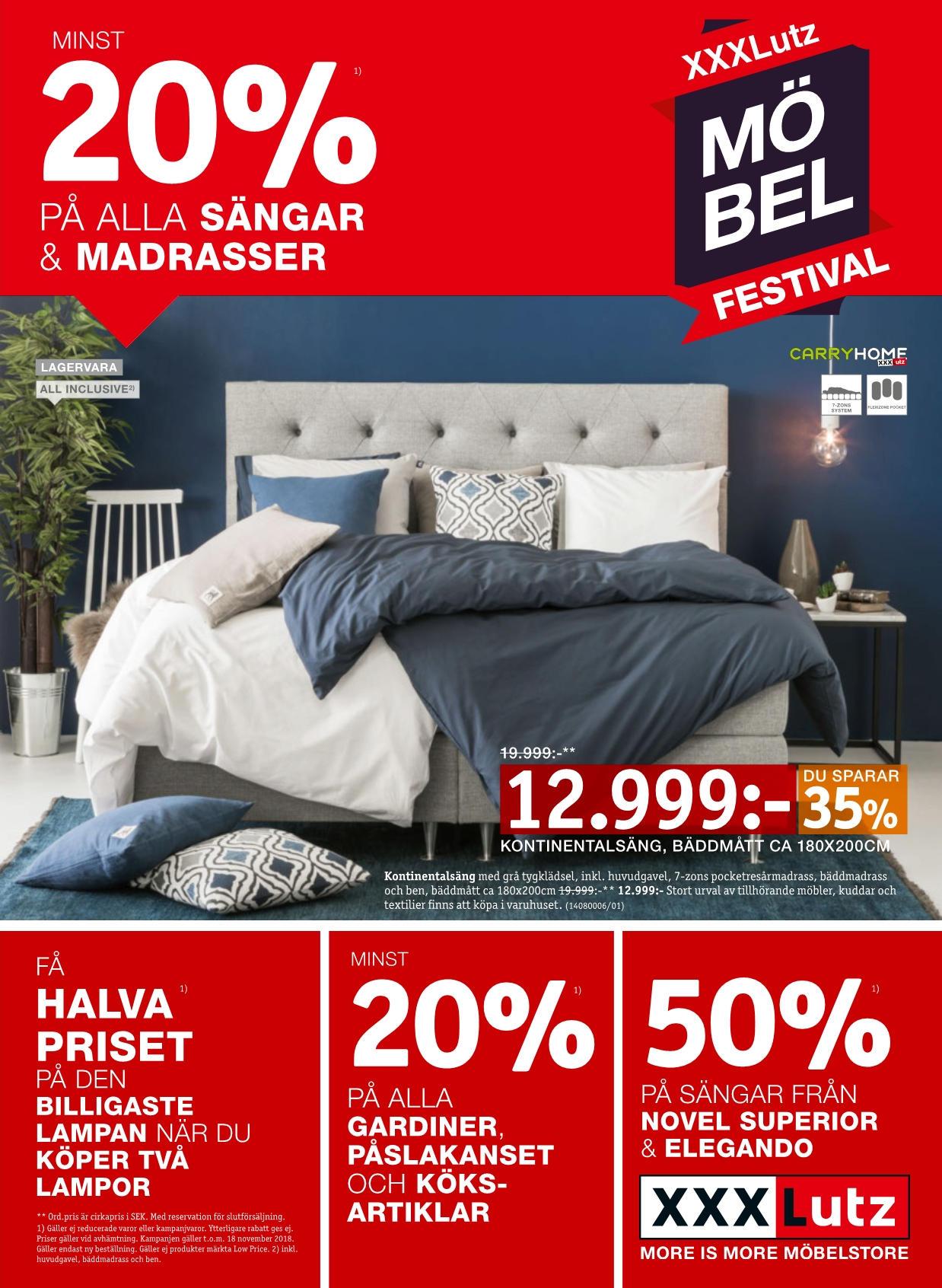 Minst 20% på alla sängar & madrasser