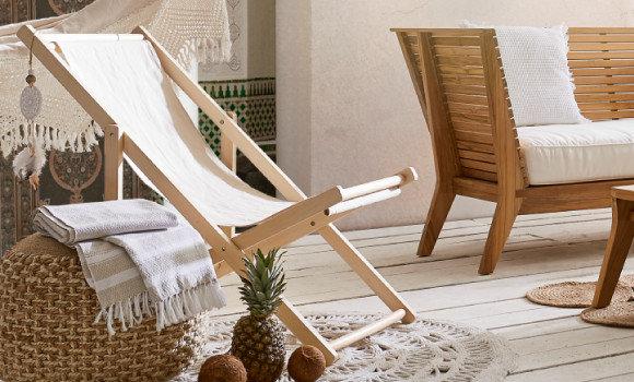 Gartentrends Makramee Gartenmöbel Holz Weiß Braun Sessel Handtuch