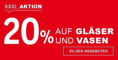 20% auf Gläser und Vasen