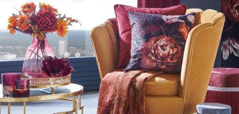 Extravagant Living Stuhl Wohnzimmer Gold Rot Beeren
