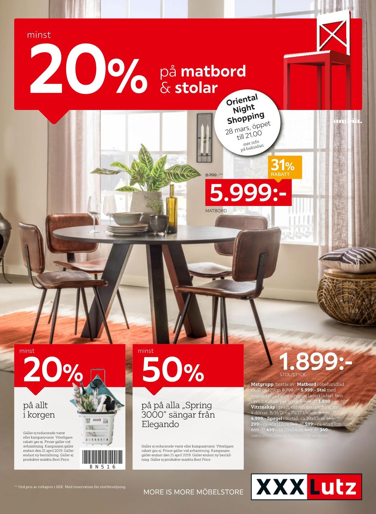 Minst 20% på matbord & stolar