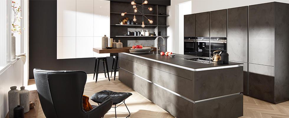 Wunderbar Grifflose Küchen Wohnküche Dunkel