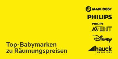 Top-Babymarken zu Räumungspreisen Maxi Cosi, Phillips, Avent, Disney, hauck
