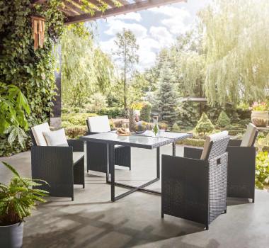 Outdoormöbel Kunststoffgeflecht Terrasse Grün Garten Tisch Sesseln