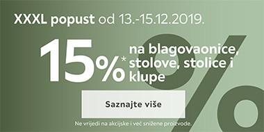 15% popusta na blagovaonice, stolove, stolice i klupe