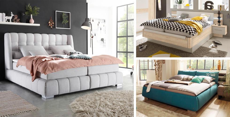 Boxspring, tapecirani i drveni krevet u Lesnini