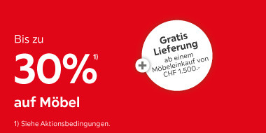 Bis zu 30% auf Möbel + Gratis Lieferung ab einem Möbeleinkauf von CHF 1.500.-