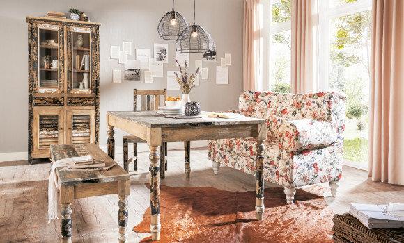 vintage stil nostalgic life esszimmer esstisch rosa braun weiß lieblich