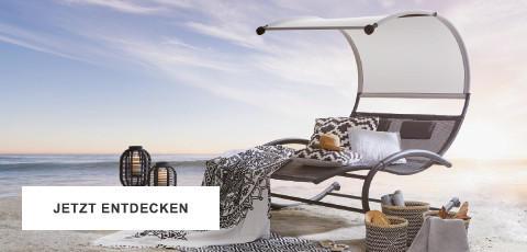 Gartentrends Gartenmöbel Schwarz Weiss Sitzgarnitur Hängeschaukel Strand Meer