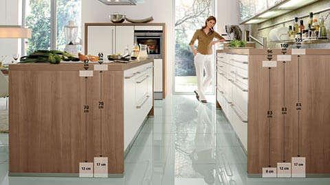 Smeđe bijela kuhinja - opis visine