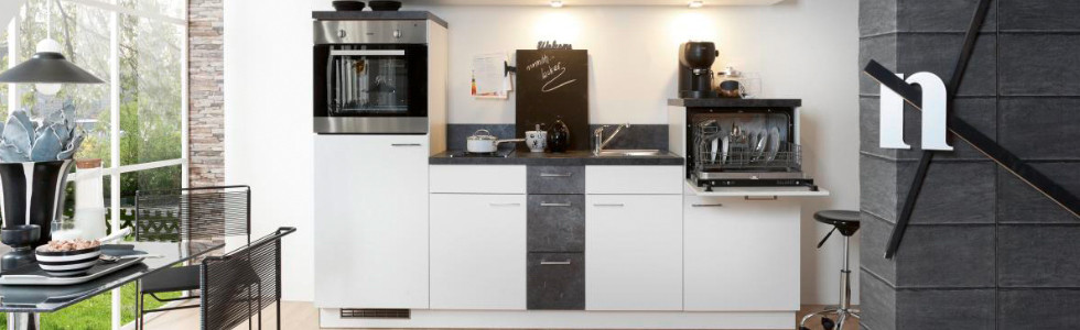 Singleküchen Weiß Grau
