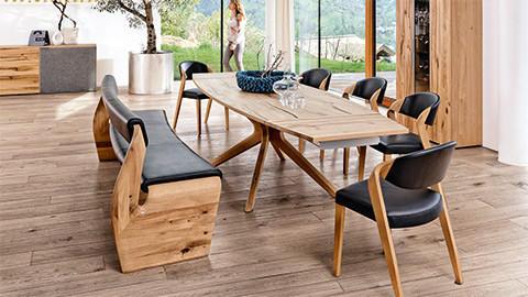 Esszimmer Holz Leder Schwarz