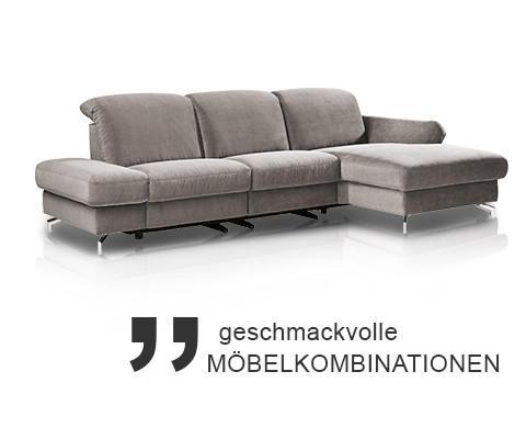 Moderano geschmackvolle Möbelkombination graues Sofa verstellbar