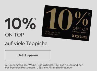 10% ON TOP auf viele Teppiche