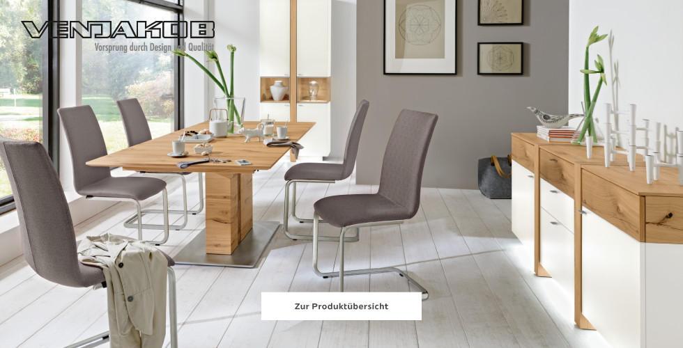 Venjakob Esszimmer Esstisch Holz Sessel Grau Silber