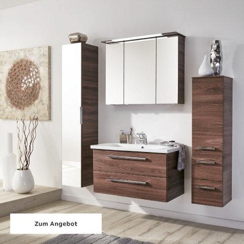 Badezimmerserien Holz Dunkelbraun Nuss Spiegel