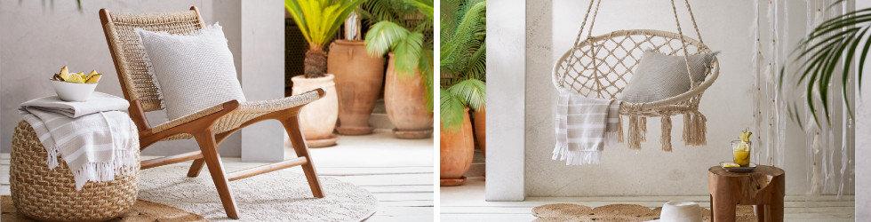 Gartentrends Makramee Gartenmöbel Holz Weiß Braun Sessel Hängesessel