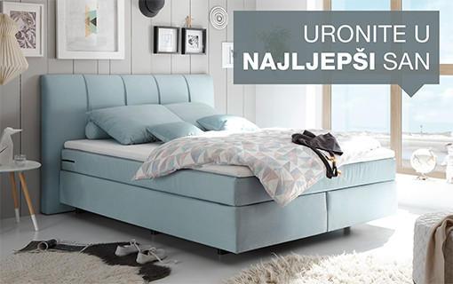 Elegantan boxspring krevet plave boje Lesnina XXXL