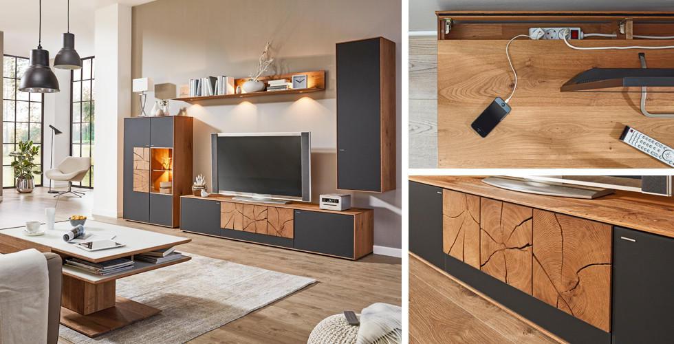 Wohnwand rustikal modern  Natur pur: Holz im Wohnzimmer