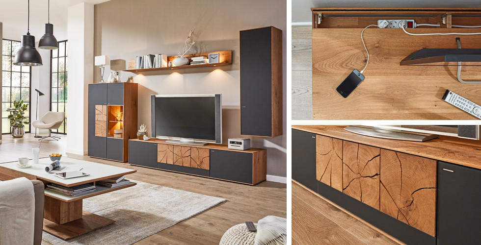 Wohnwand echtholz  Natur pur: Holz im Wohnzimmer