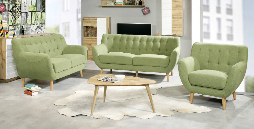 Svijetlo zeleni trosjed, dvosjed i fotelja