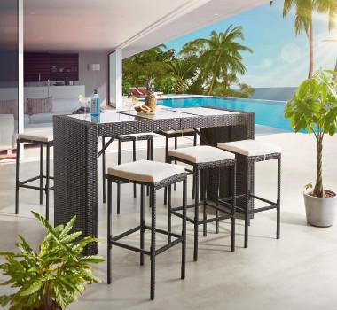 Gartentrends Gartenmöbel Schwarz Weiss Barhocker Tisch