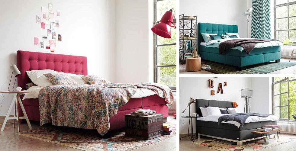 Kontinentální postele červené, petrolejové, šedé, výběr barvy a látky, v XXXLutz.