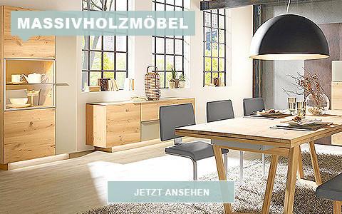 Wohnzimmermoebel aus Massivholz Esstisch Vitrine und Kommode