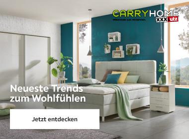Schlafzimmer mit grauem Polsterbett
