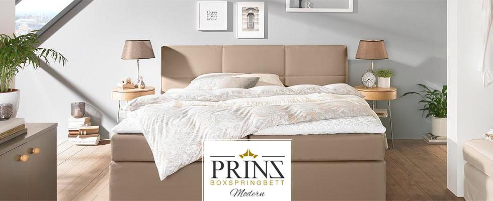 Prinz Boxspringbett Modern Leder helles Schlafzimmer