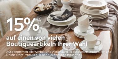 15% auf einen von vielen Boutiqueartikeln Ihrer Wahl