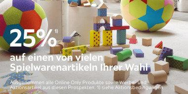25% auf einen von vielen Spielwarenartikeln Ihrer Wahl