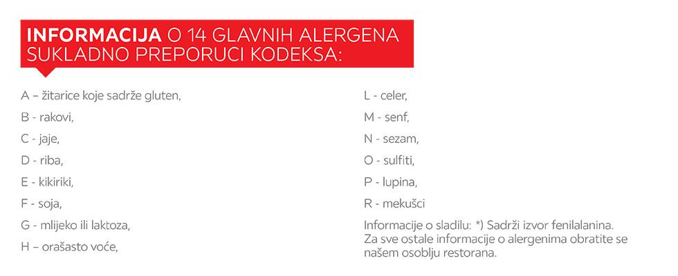 Popis alergena XXXL restorana