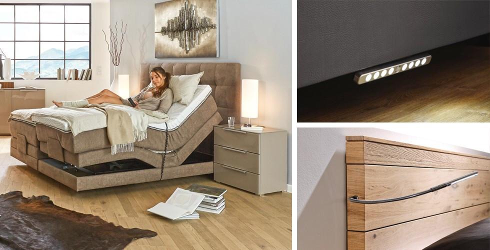 Entdecken Sie Features, Leselampe, LED-Bewegungsmelder, verstellbare Matratze, für Ihr Traumbett bei XXXLutz.