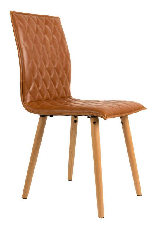 STUHL Lederlook Braun - Buchefarben/Braun, Design, Holz/Textil (56/42/89cm)